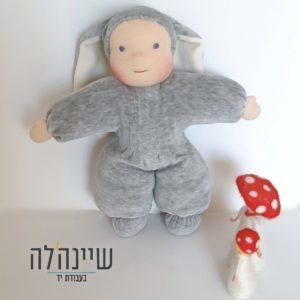 בובת וולדורף - ארנב קטיפה אפורה